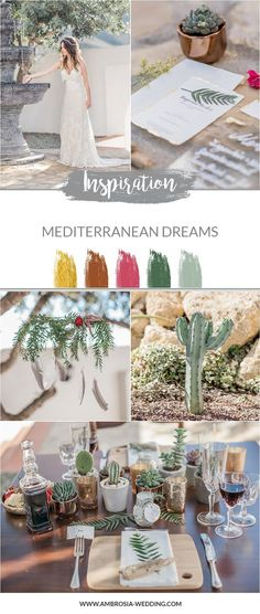 A Mediterranean dream - A wedding inspiration from Spain Boho Wedding, Wedding Day, Green Colour Palette, Color Palettes, Mediterranean Wedding, Wedding Signage, Color Themes, Unique Weddings, Wedding Designs