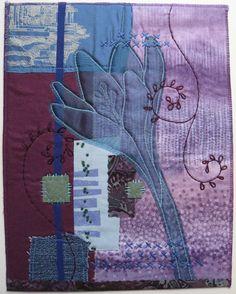 """Art Quilt """"Crocus Construction"""". $80.00, via Etsy."""