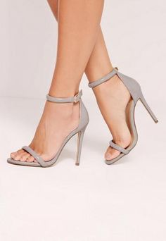 Grey Rounded Strap Patent Barely There Sandals - Missguided