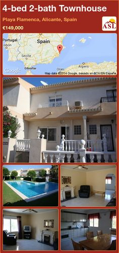 4-bed 2-bath Townhouse in Playa Flamenca, Alicante, Spain ►€149,000 #PropertyForSaleInSpain