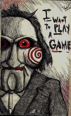 Jigsaw's Puppet by on DeviantArt Jigsaw Doll, Jigsaw Saw, Saw Drawing, Doll Drawing, Jigsaw Movie, Horror Movie Characters, Horror Movies, Horror Drawing, Deadpool Wallpaper