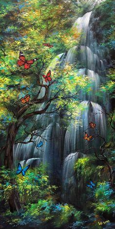 Aquarius Flow is part of Arcylic painting aquariusflowvesnadelevska - Fantasy Landscape, Landscape Art, Landscape Paintings, Watercolor Landscape, Watercolor Art, Beautiful Landscape Wallpaper, Beautiful Landscapes, Lake Pictures, Nature Pictures