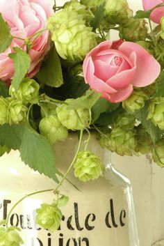 pink roses in a vintage pitcher.  I love them combined with the hops!