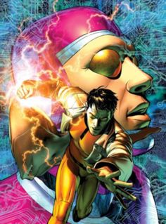 X-51 - Aaron Stack (foreground) and his alter ego Machine Man (background). Art by Brandon Peterson.