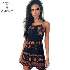 VA Summer New Women Mini Dress Sexy Sleeveless Backless Floral Print Slip Dress Beach Holiday Bodycon Dress