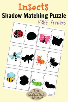 Insects Shadow Matching Puzzle for Kids Free printable puzzle for visual discrimination Perfect for preschoolers and toddlers A great Busy bag activity Puzzles For Toddlers, Printable Activities For Kids, Preschool Learning Activities, Preschool Activities, Toddler Book Activities, Toddler Puzzles, Insect Activities, Insect Crafts, Toddler Books