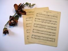 Wedding Paper, Vintage Sheet Music, Paper, 11 Sheets, Distressed, Aged, Some…