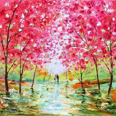 Large Original oil painting Spring Romance Landscape Palette knife modern impressionism impasto fine art by Karen Tarlton