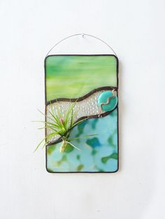 Stained Glass Panel Air Plant Holder  Oceana 2  air by glassetc, $28.99