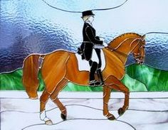 Stained Glass of Horses Equestrian Eqine Dogs Cats Animals Custom Stained Glass Artwork #StainedGlassHorse