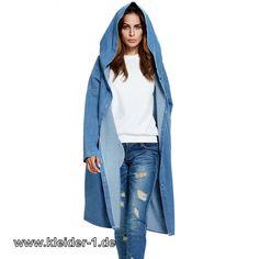 Lange Jeansjacke mit Kapuze für Damen