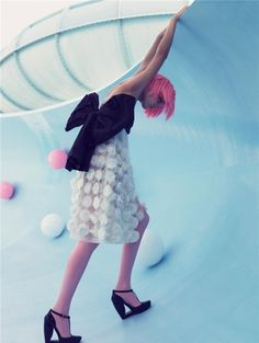 Craig mcdean,Fashion,Girl,Model,Natalia vodianova,Pink hair,Waterslide,