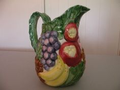 Vintage Fitz and Floyd 1988 Calypso Tropical Fruit Pitcher