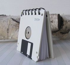 Recycled Geek Gear Blank Floppy Disk Mini Notebook in Off White