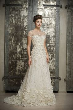 Enaura Bridal ES509 Illusion front and back neckline, cap sleeves, modified a-line silhouette, natural waist, embellished with scattered crystals and silk appliques