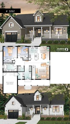 Small Cape Cod style bungalow house plan, bonus space and cathedral ceiling – Farmhouse Plans Sims House Plans, Bungalow House Plans, Garage House Plans, Family House Plans, Craftsman House Plans, New House Plans, Small House Plans, House Floor Plans, Small Farmhouse Plans