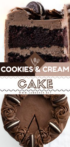 Cookies and Cream Cake is a layered homemade cake recipe with Oreo buttercream and crushed Oreo cookies! It is a rich and decadent chocolate cake that is delicious to make for any occasion. Save this easy yummy dessert for your family!