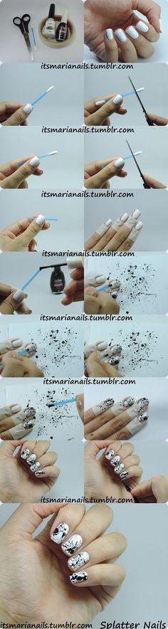 Blown black nail polish on white nails - wood crafts Nail Art Hacks, Nail Art Diy, Diy Nails, Diy Art, Manicure Tips, Black Nail Polish, White Nails, Black Nails, Splatter Nails