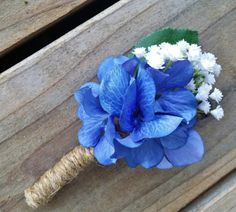 Hydrangea Boutonniere Blue and Ivory Hydrangea by RedRobynLane