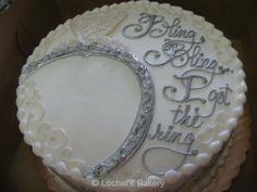 """bridal shower cake- """"bling, bling, I got the ring"""""""