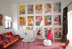 LOVE those vintage movie posters and hot pink kilm rug! From Marrakesh by Design by Maryam Montague (Artisan Books).