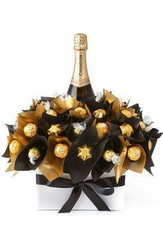 Fancy chocolate and champagne bouquet