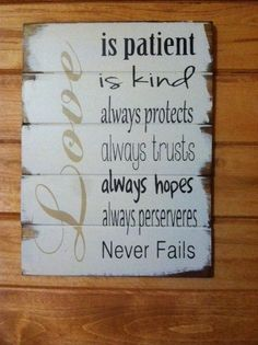 """Love is patient, kind, always protects, always trusts 1 Corinthians Bible quote 13""""w x17 1/2"""" hand-painted wood sign"""