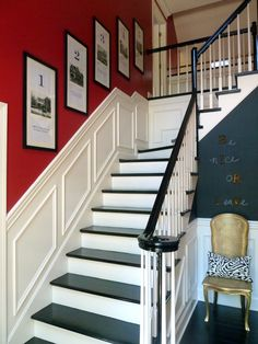 black and white stair treads/handrail  ( also love the pictures of houses they had lived in )