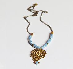 Celeste #Metal #Cristal facetado #Collares #Necklaces #Glass #Accesories #carambascarambitas #Accesorios