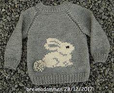 Sweet bunny sweater pattern by de breimadammen - Knitting Crochet Baby Sweater Patterns, Baby Cardigan Knitting Pattern, Knit Baby Sweaters, Baby Patterns, Crochet Cardigan, Crochet Patterns, Baby Boy Sweater, Free Childrens Knitting Patterns, Crochet Baby