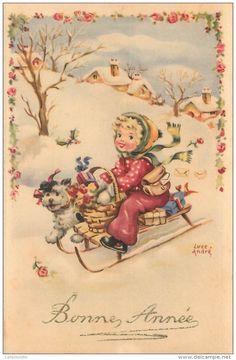 """/ CPA ILLUSTRATEUR ANDRÉ LUCE """"Un Enfant Sur Sa Luge"""" Christmas Card Images, Old Christmas, Vintage Christmas Ornaments, All Things Christmas, Christmas Postcards, New Year Greetings, Christmas Greetings, New Year Postcard, New Year Card"""