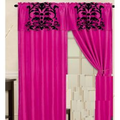 Luxury Flocking Pink Black New Window Curtain Panels Liner Tassel - Go Shop Home & Garden Window Coverings, Window Treatments, Window Curtains, Valance, Curtain Sets, Curtain Panels, Pink Fabric, Home Decor Outlet, Flocking