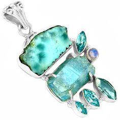 Larimar Dominican Republic Slice 925 Silver Pendant Jewelry SP97403 | eBay