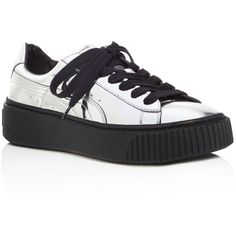 Puma Basket Metallic Platform Sneakers (€96) ❤ liked on Polyvore featuring shoes, sneakers, silver, platform sneakers, platform leather sneakers, shiny shoes, polish shoes and leather shoes