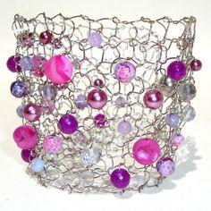 Wild Hot Pink Druzy Agate Magenta Fuschia Bridal Wedding Party Jewelry Wire Knit Lace Bracelet Limited Edition 2013 Bright Raspberry