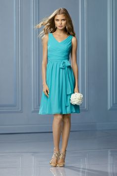 Pretty Wtoo bridesmaid dress 486 V-neck chiffon tea length in aqua blue MODELBRIDE - Dress 486, $249.00 (http://www.modelbride.com/dress-486/) #bluebridesmaidsdress