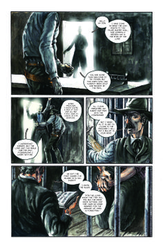 "A page from ""Hang Low Aim High"" , a story written by Kelly Bender and lettered by Nic J. Shaw . Pencils , water colors and in the end Ink ."
