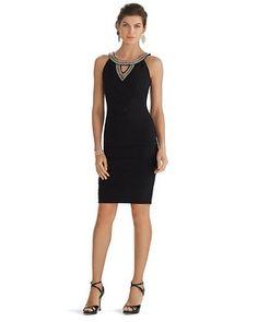 4346a4bfbcc White House | Black Market Sleeveless Embellished Neckline Instantly  Slimming Dress #whbm Holiday Dresses,
