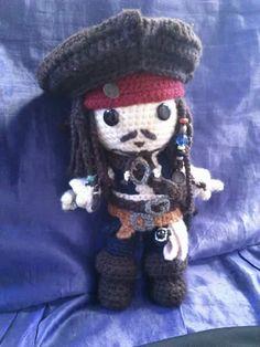 Jack Sparrow Amigurumi by NocturnalBlossom…. on Jack Sparrow Amigurumi by NocturnalBlossom…. Crochet Disney, Crochet Geek, Crochet Patterns Amigurumi, Cute Crochet, Amigurumi Doll, Crochet Crafts, Crochet Dolls, Crochet Stitches, Knitting Patterns