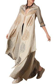 Shop Malini Ramani - White block print doublelayerd shirt Latest Collection Available at Aza Fashions