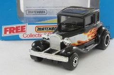 Matchbox/Lesney 73e; Ford Model A Coupe Hot Rod, Black W Flames; Excellent Boxed - http://www.matchbox-lesney.com/52265