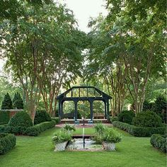 Co Co's Collection : Formal garden # structure # roses # boxwood the structure at the end of the lawn draws you deeper into the garden