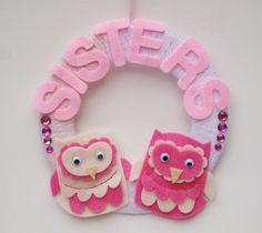 Sisters Wreath, Baby Girl Door Hanging, Nursery Decor, Big Sister Gift, Little Sister Gift, Girls Room Decoration