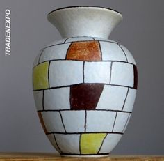 RETRO Vintage 1958 ILKRA KERAMIK CAPRI Vase Ernst Werner German Pottery Fat Lava