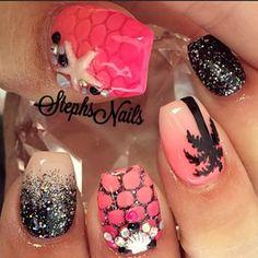 Stephanie Loesch @_stephsnails_ Instagram profile - Enjoygram Get Nails, Fancy Nails, Bling Nails, Love Nails, Glitter Nails, Beautiful Nail Designs, Cute Nail Designs, Tropical Nail Art, Unicorn Nails