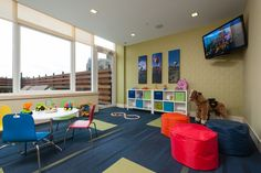 Organic and modern, this new development in Long Island City was designed to provide a calm refuge from the bustle of the Queensboro Plaza area. Multiple recreation areas provide destinations for tenants to mingle and relax. See more of our children's playroom interior design portfolio at www.In-SiteID.com