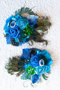 Emerald Blue Peacock Feather Wrist Corsage Set of 2 - Ruby Blooms