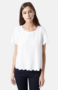 Free shipping and returns on Topshop Scallop Frill Tee at Nordstrom.com. Scallops along the sleeves and hem make a fun, feminine update to this relaxed round-neck tee cut from delicate fabric in a slightly boxy silhouette.