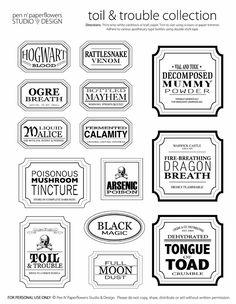 potion labels to print - Google Search