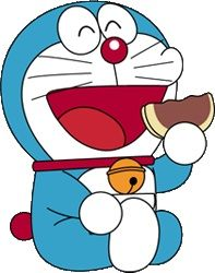 Doraemon devouring delicious dorayaki. With the Museum of Fujiko F Fuijo (Creator)'s location